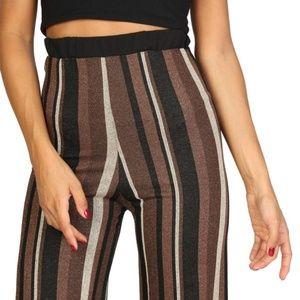 Lokita Brown Elastic Waist Striped Trouser